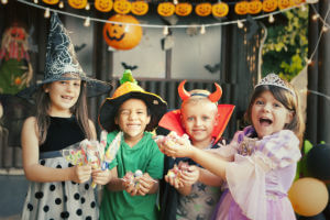 excited kids on halloween