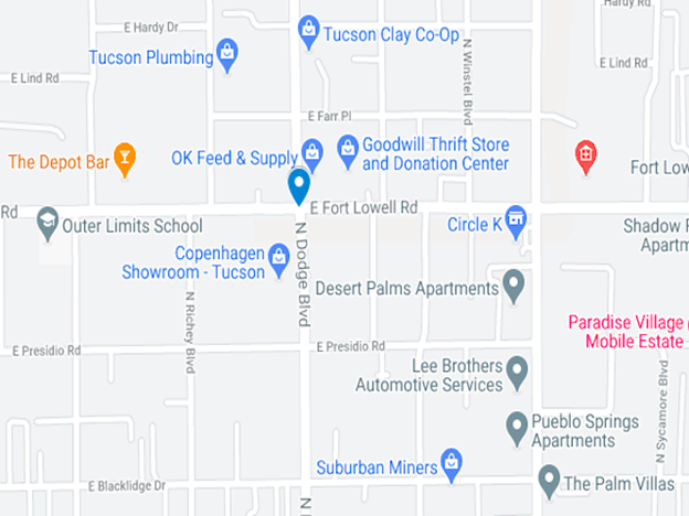 map of midtown Tucson at East Lowell Road