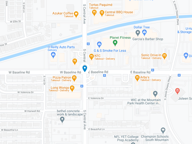 Map showing intersection at S Central Ave and Baseline Rd