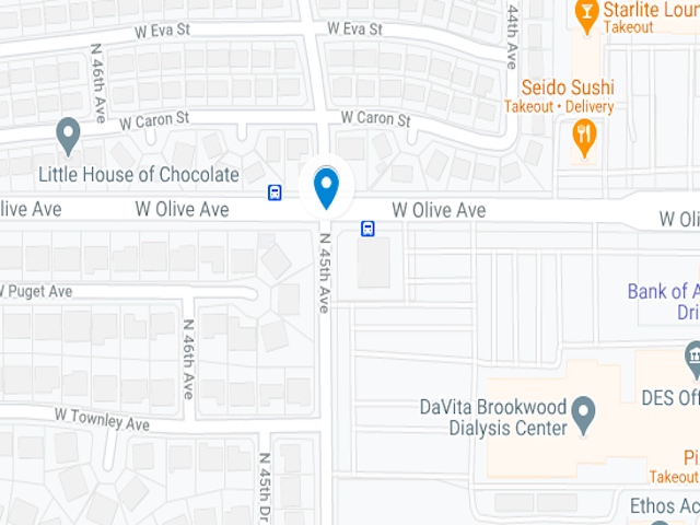 Map Showing intersection of N Olive and W 45th Ave