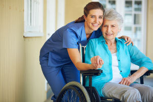 caregiver with nursing home resident