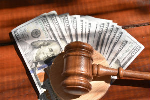 money and legal gavel