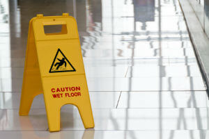 sign warning of wet floor
