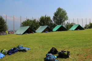 hill with tents