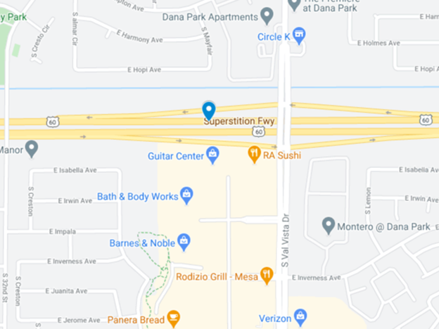 google map image of superstition freeway near val vista drive