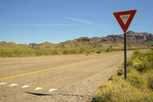 yield sign in the desert