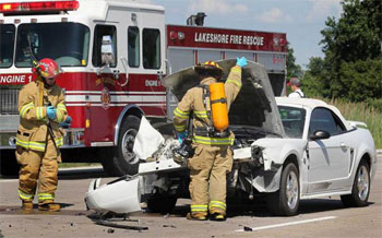 head on collision with firefighters